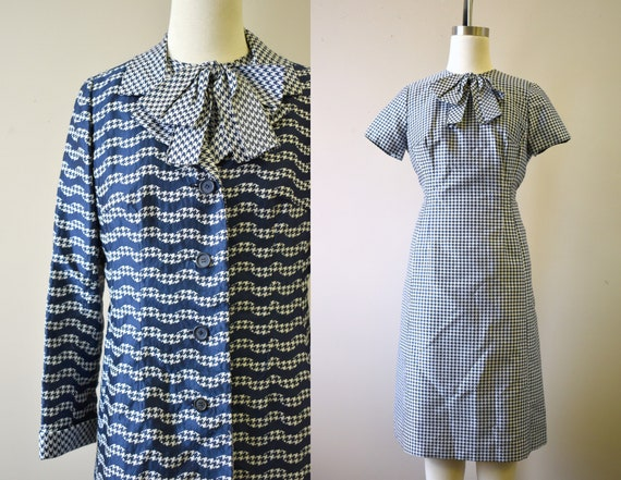 1950s/60s Neiman Marcus Navy Houndstooth Dress and