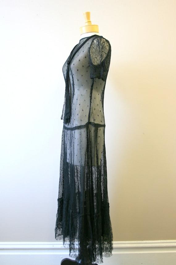 1920s/30s Black Mesh Dress - image 4