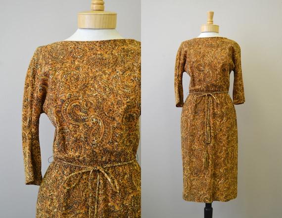 1950s Carol Craig Lurex Paisley Wiggle Dress