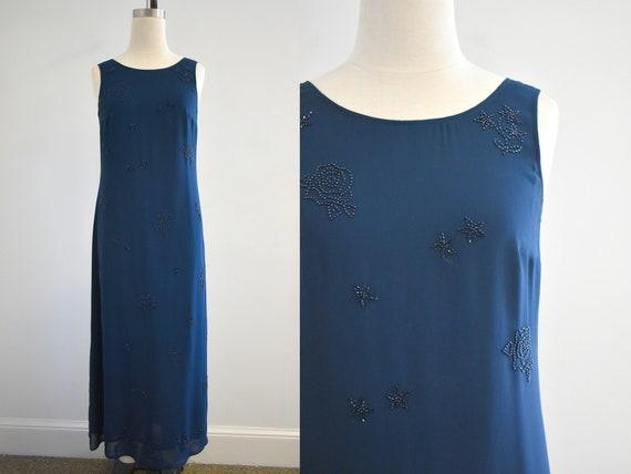 1990s Laura Ashley Navy Beaded Chiffon Maxi Dress - image 1