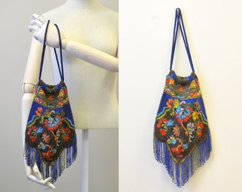 Late 1910s/Early 1920s Floral Beaded Drawstring Purse