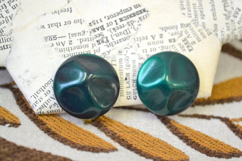 1960s Dark Green Lucite Clip Earrings