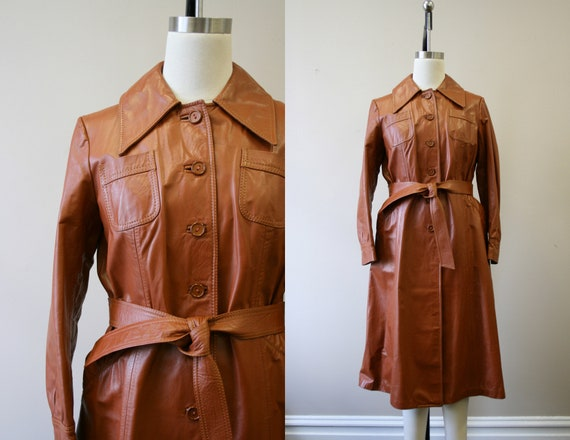 1970s Brown Leather Trench Coat