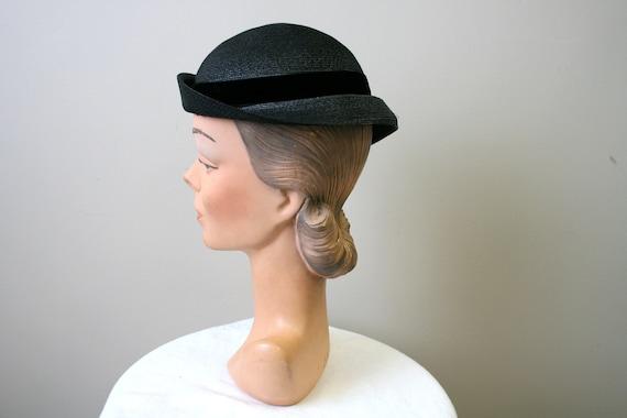 1930s Black Straw Cap - image 3