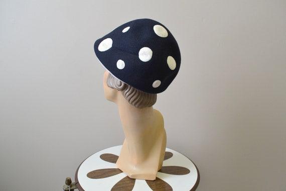 1960s Jean Patou Mod Polka Dot Hat