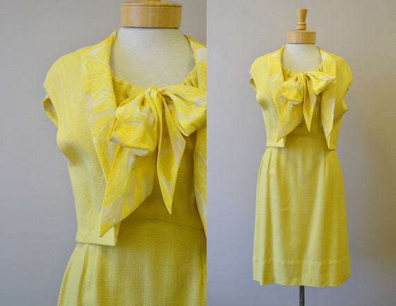 1950s Pat Premo Yellow Dress and Vest