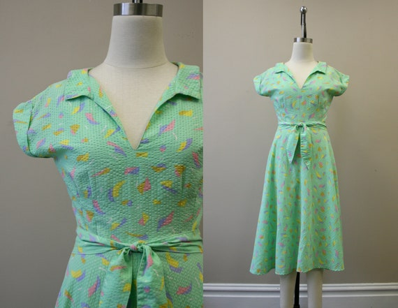 1980s-does-1950s Pastel Seersucker Dress