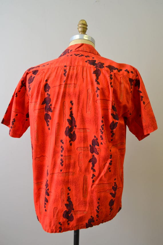 1950s Kamehameha Red Cotton Hawaiian Shirt - image 3