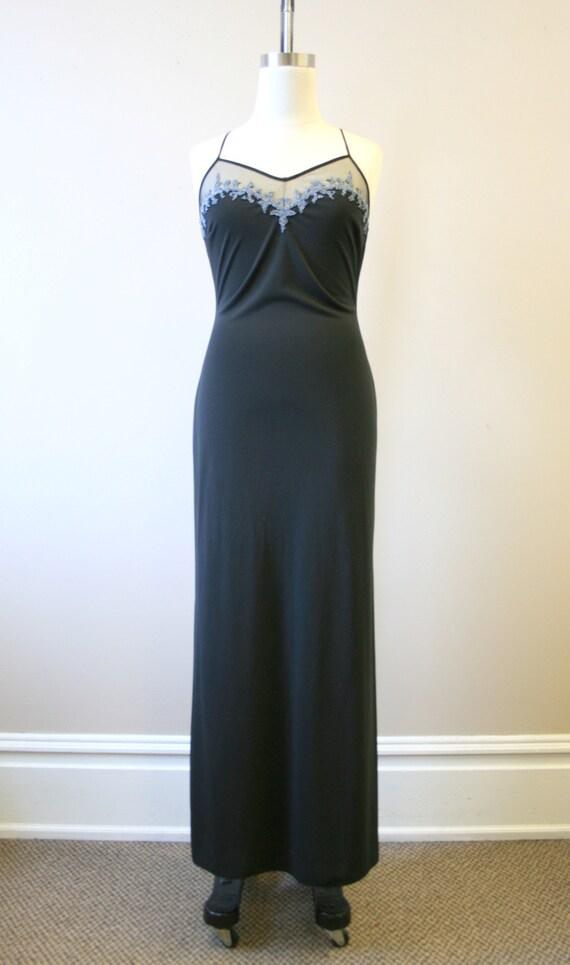 1990s Cache Black Beaded Slip Dress - image 2