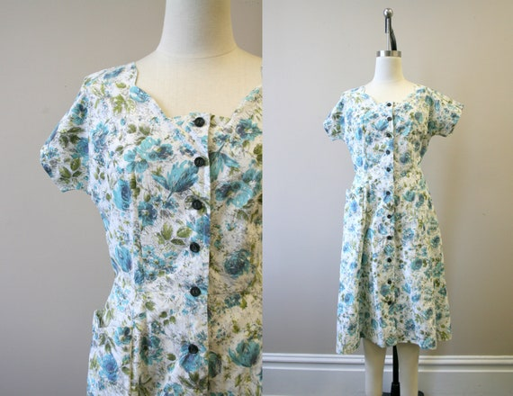 1940s Floral Cotton Dress