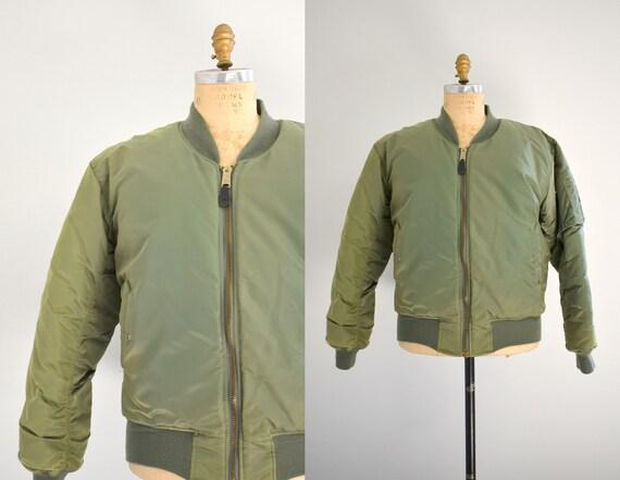 1990s Front Line Green Nylon Flight Jacket