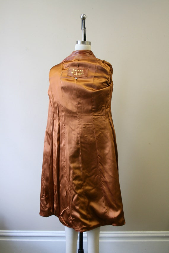 1970s Brown Leather Trench Coat - image 6