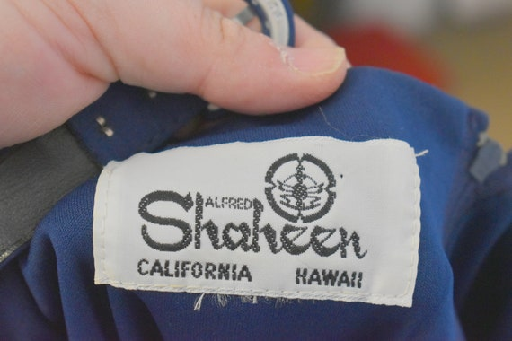 1970s Alfred Shaheen Navy Knit Sundress - image 6
