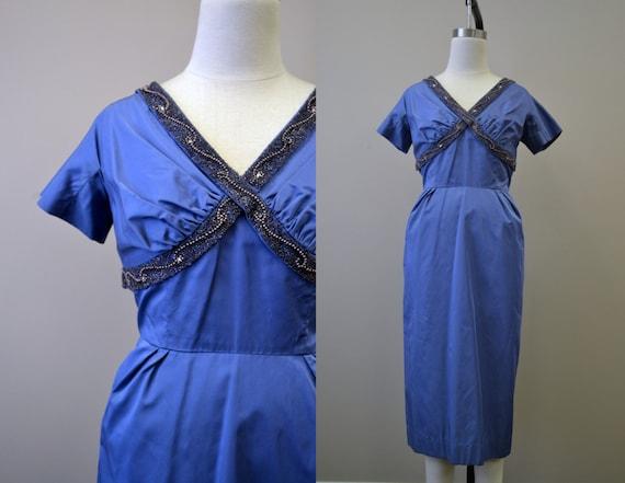 1950s Taffeta Beaded Wiggle Dress