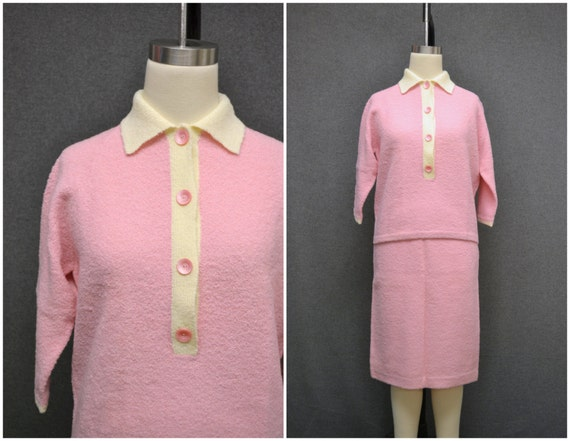 1950s Pink Boucle Knit Sweater and Skirt Set