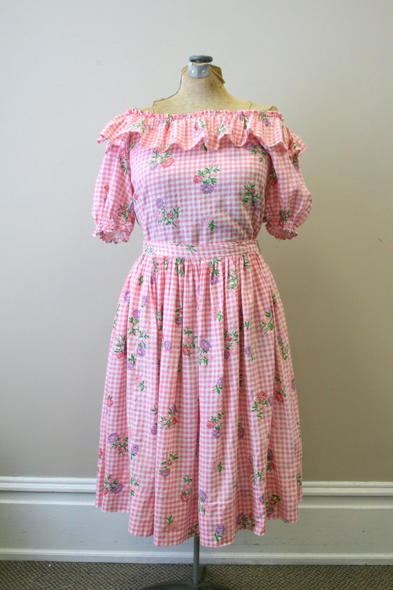 1950s Pink Gingham and Floral Two Piece Skirt Set - image 6