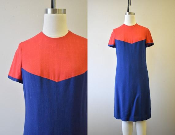 1960s Pamela Martin Red and Navy Linen Dress