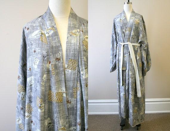 1940s/50s Gray Landscape Print Rayon Kimono