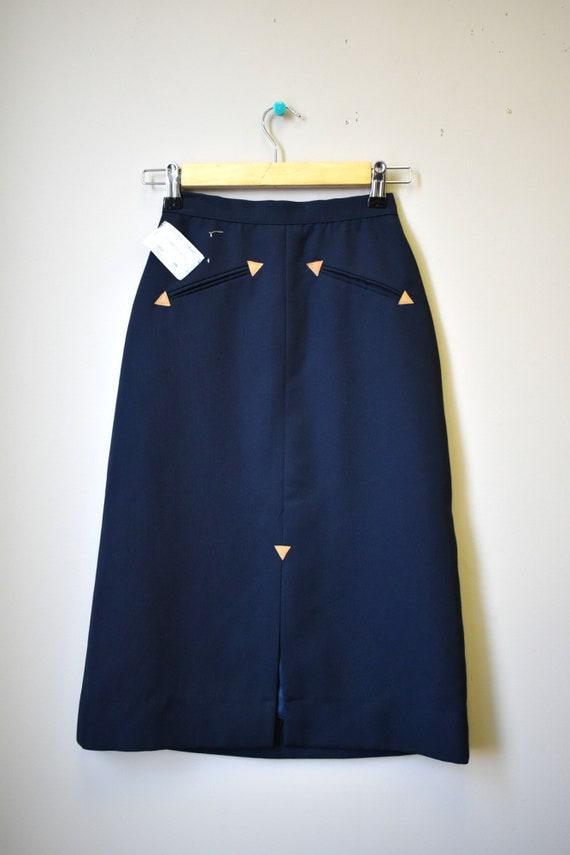 1970s NOS Black Western Style Skirt - image 2