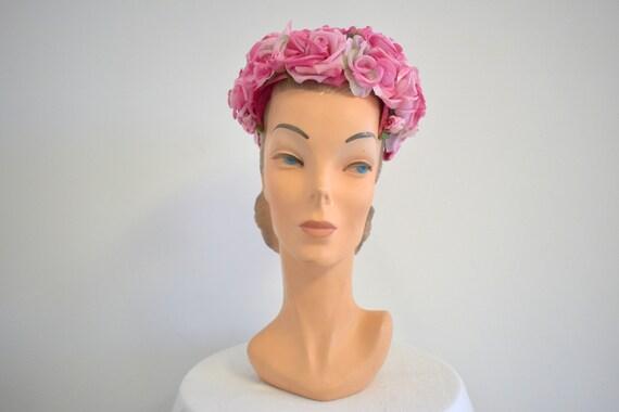 1950s/60s Valerie Modes Pink Rose Hat