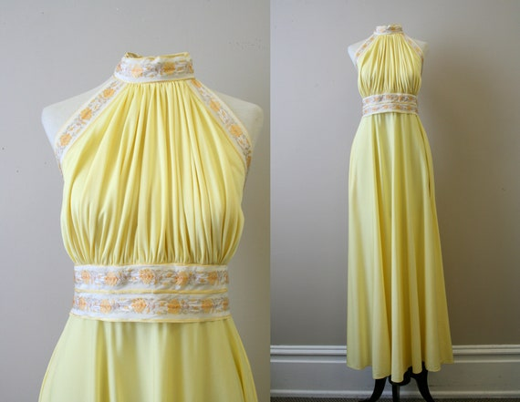 1970s Lillie Rubin Yellow Maxi Dress and Wrap