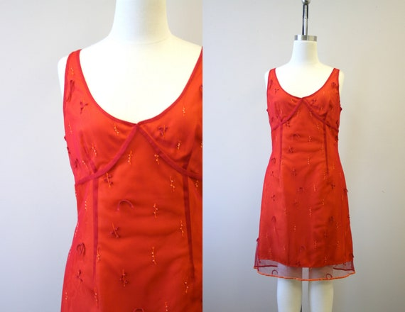 1990s Express Orange and Red Mesh Dress