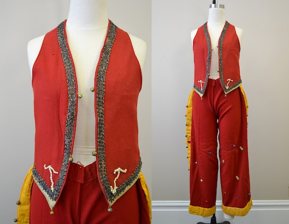 1930s Red Wool Vest and Chaps