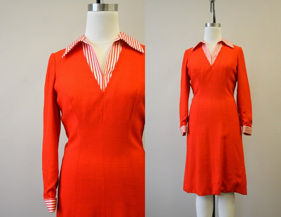 1970s Adele Simpson Red-Orange Dress