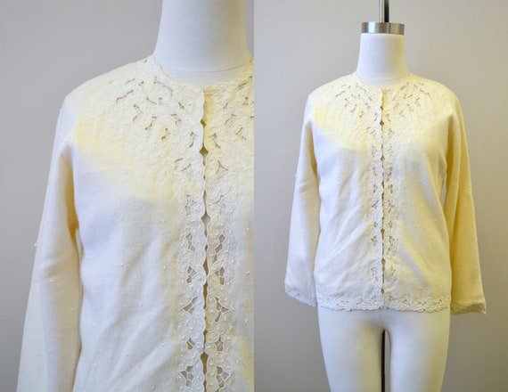 1950s Cashmere Cutwork and Beaded Cream Cardigan S