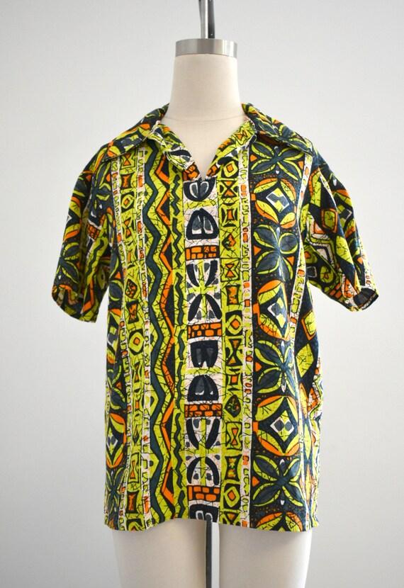 1950s/60s Tiki Barkcloth Men's Shirt - image 2