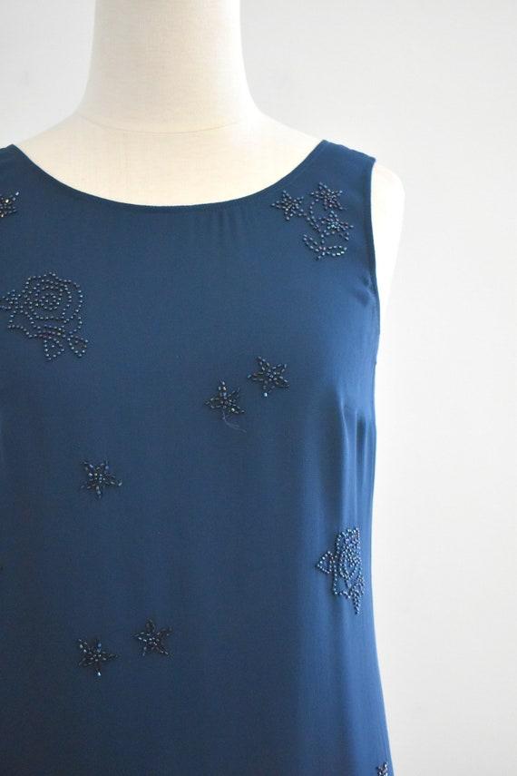 1990s Laura Ashley Navy Beaded Chiffon Maxi Dress - image 2