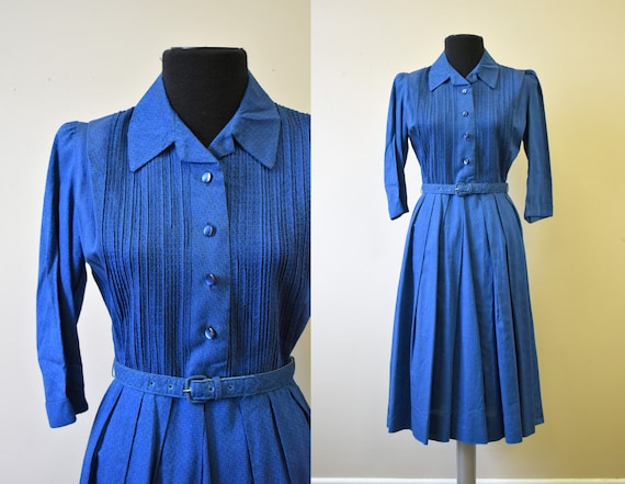 1950s Betty Barclay Blue Cotton Dress