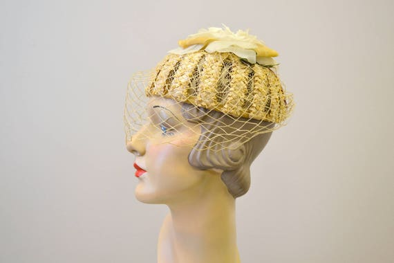 1930s Straw Hat with Silk Rose