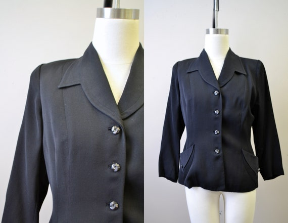 1940s Black Wool Gabardine Jacket