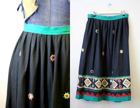 1970s Indian Mirror Embroidered Skirt