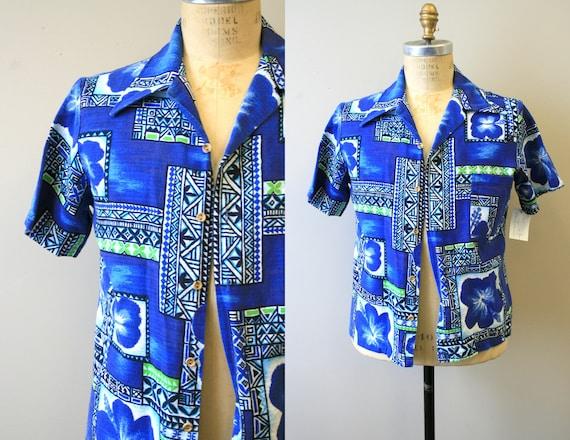 1950s Men's Blue Barkcloth Hawaiian Shirt