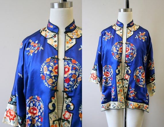 1930s Embroidered Chinese Blue Silk Jacket