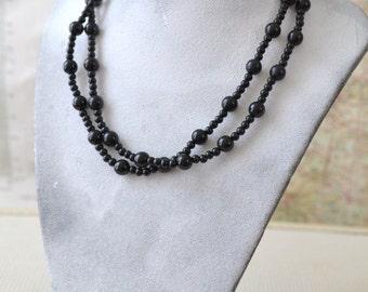 Trifari Black Double Strand Bead Necklace