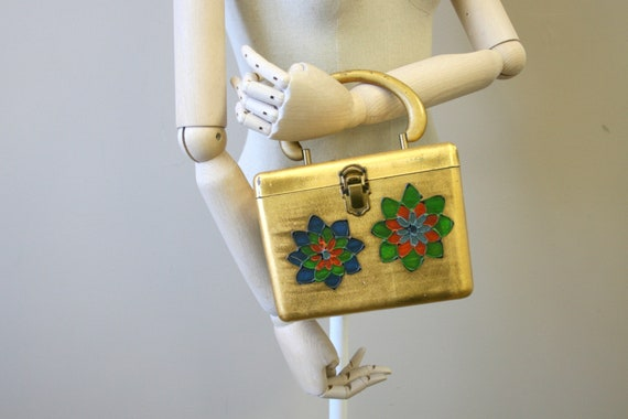 1950s Gold Floral Box Purse
