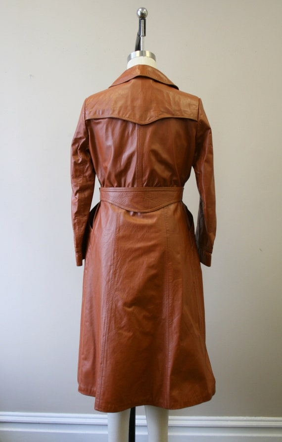 1970s Brown Leather Trench Coat - image 5