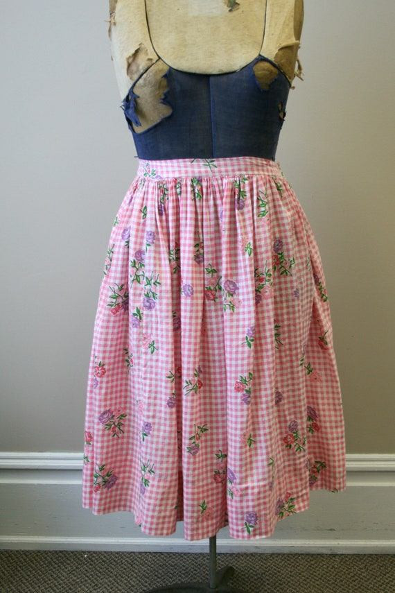 1950s Pink Gingham and Floral Two Piece Skirt Set - image 4
