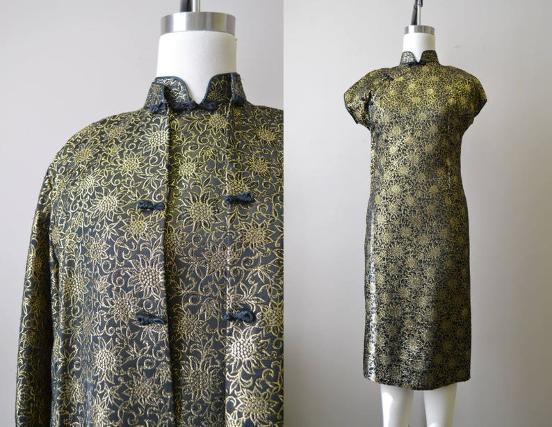 1960s Suzy Wong Black Brocade Cheongsam and Coat image 0