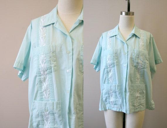 1980s Haband Women's Mint Guayabera Shirt