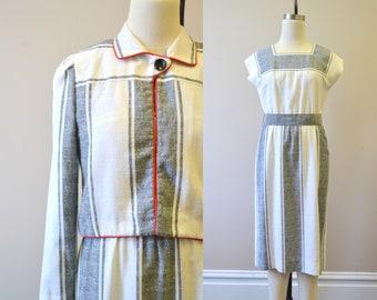 1980s Leslie Fay Striped Dress and Jacket Set