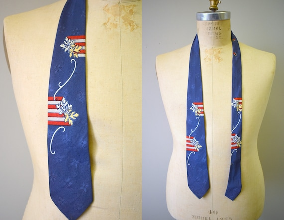 1940s Rayon Leaf Print Necktie