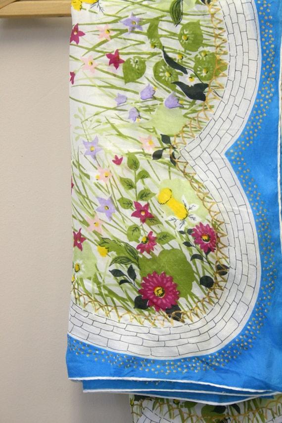 1940s Flower Garden Silk Scarf - image 5