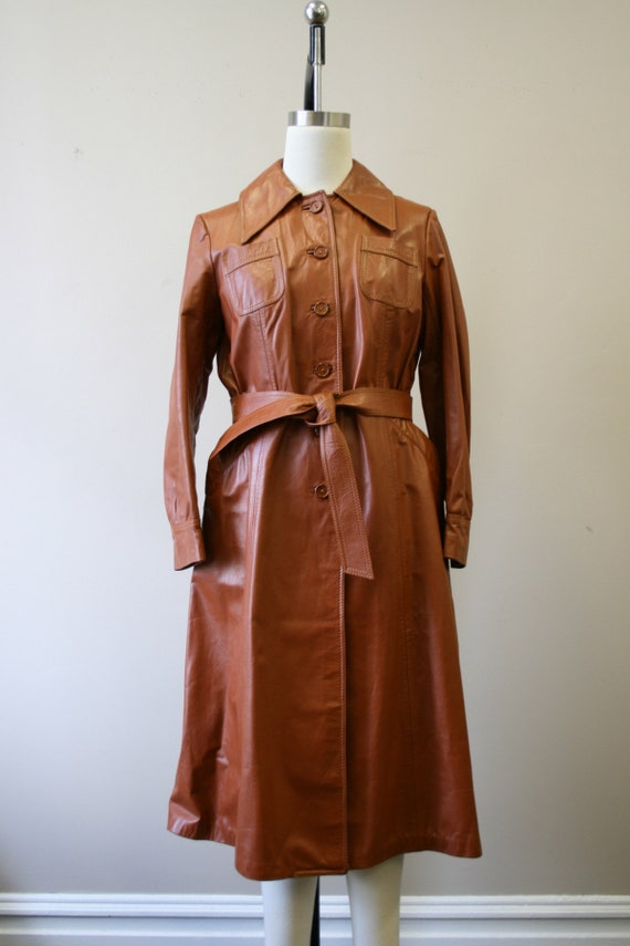 1970s Brown Leather Trench Coat - image 3
