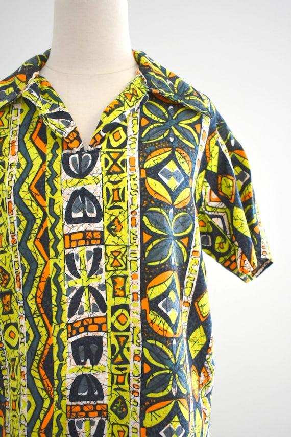 1950s/60s Tiki Barkcloth Men's Shirt - image 3