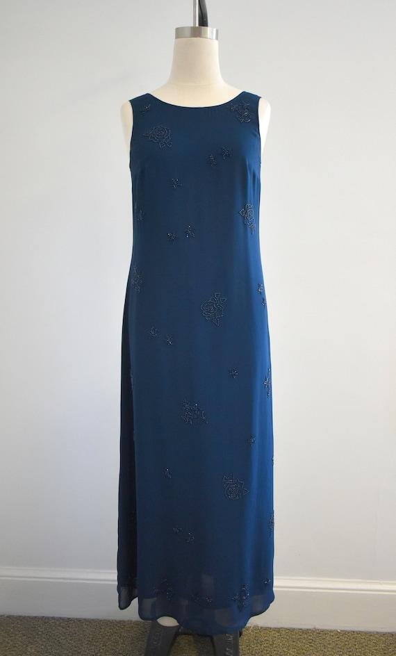 1990s Laura Ashley Navy Beaded Chiffon Maxi Dress - image 3