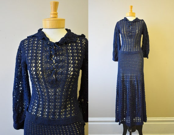 1930s Navy Blue Crochet Long Dress